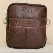 Стильная кожаная мужская сумка с отверстиями (коричневый)