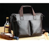 Сумка кожаная портфель мужская для ноутбука, документов Polo Premium (Коричневый)