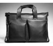Сумка кожаная портфель мужская для ноутбука, документов Polo Premium (Черный)