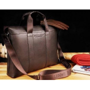 Сумка кожаная портфель мужской с ручкой для ноутбука, документов Polo (Коричневый)