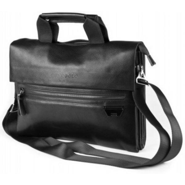 fc06a74bbe0c Сумка кожаная портфель с ручками мужская для ноутбука, документов Polo  (Черный)