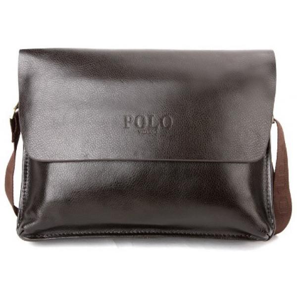 0b2a1421010c Сумка кожаная портфель мужская для ноутбука, документов Polo (Коричневый)