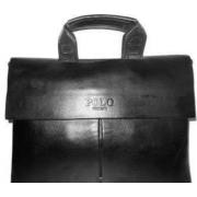 Сумка кожаная портфель с ручками мужская для ноутбука, документов Polo simple (Черный)