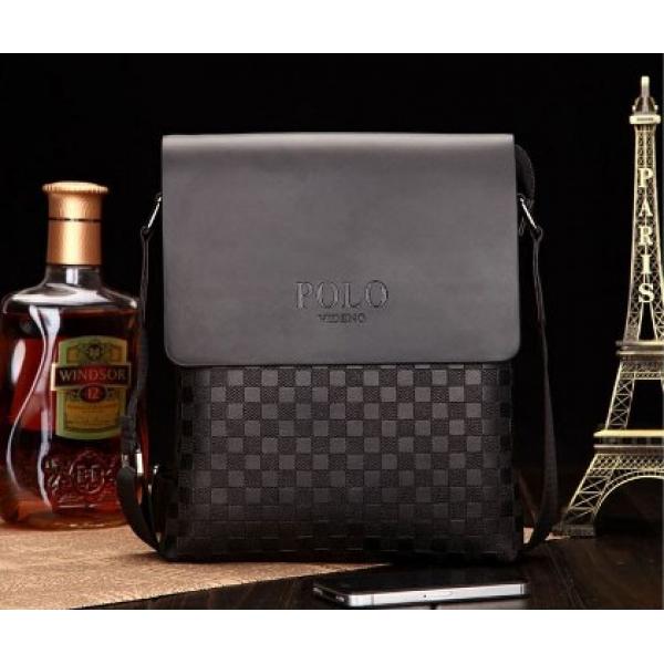 Сумка планшет размер M мужская для iPad mini или документов Polo (Черный, шашка)