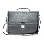 Портфель кейс сумка кожаная для документов с разделом для ноутбука Abasin (Черный)