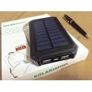 Powerbank со встроенной солнечной батареей Solar Power Bank пластиковый корпус, объем 12000 mAh (Черный)