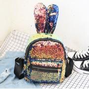 Рюкзак с блестками пайетками ушки зайца (Бронзово-синий)