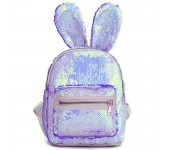 Рюкзак с блестками пайетками ушки зайца (Перламутр с синим)