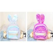 Рюкзак с блестками пайетками ушки зайца (Перламутрово-розовый)
