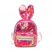 Рюкзак с блестками пайетками ушки зайца (Розово-бронзовый)