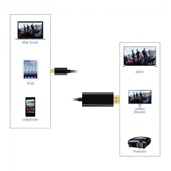 Кабель Aluminium Type-C to HDMI 1 м (Черный)