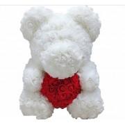 Мишка из роз с красным сердцем 40 см (Белый с красным)
