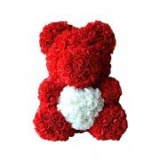 Мишка из роз с белым сердцем 40 см (Красный с белым)