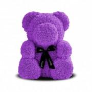 Мишка из роз с бантиком 20 см (Фиолетовый)