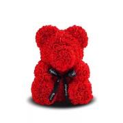 Мишка из роз с бантиком 20 см (Красный)