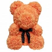 Мишка из роз с бантиком 20 см (Оранжевый)