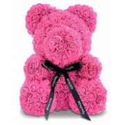 Мишка из роз с бантиком 20 см (Розовый)