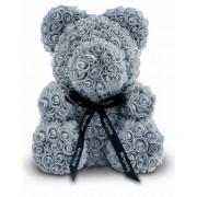 Мишка из роз с бантиком 20 см (Серый)