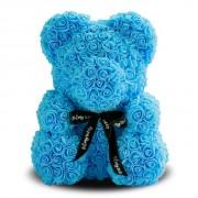 Мишка из роз с бантиком 40 см (Голубой)