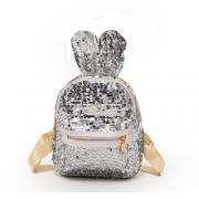 Рюкзак с пайетками ушки зайца (Серебро)