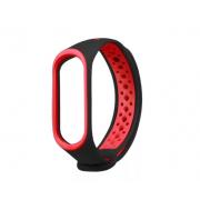Перфорированный силиконовый ремешок для Xiaomi Mi Band 3/Mi Band 4 (Черный с красным)