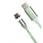 Магнитный кабель USB 360 LED Lightning 1000mm (Зеленый)