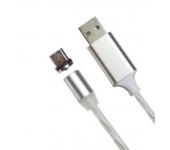 Магнитный кабель USB 360 LED Micro Usb 1000mm (Белый)