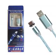 Магнитный кабель USB 360 LED Type-C 1000mm (Голубой)