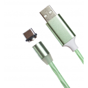 Магнитный кабель USB 360 LED Type-C 1000mm (Зеленый)