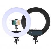 Кольцевая светодиодная лампа 18 дюймов HQ-18 с держателем для смартфона (Белый с черным)