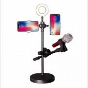 Настольная кольцевая лампа с держателем для микрофона и телефона, для лайв-стриминга (Черный)