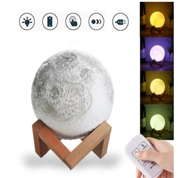 Ночник светильник настольный Луна 18 см с аккумулятором и touch функцией