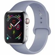 Силиконовый ремешок Sport для Apple Watch 42 44 мм гибкий, для пробежек, спортивный, плотно прилегающий (Серая лаванда)