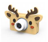 Детский цифровой фотоаппарат камера с силиконовым чехлом Олень (Коричневый)