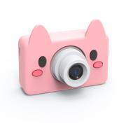 Детская цифровая камера фотоаппарат с силиконовым чехлом Свинка (Розовый)