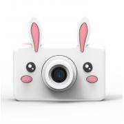 Детский цифровой фотоаппарат камера с силиконовым чехлом Зайка (Белый)