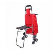 Сумка-тележка хозяйственная со стульчиком на 6 колесах (Красный)