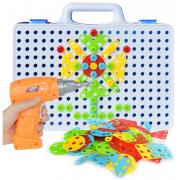 Конструктор-мозаика с шуруповертом Magic Plate puzzle 144 детали (Голубой)