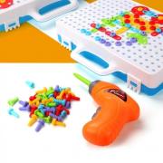 Конструктор-мозаика с шуруповертом Magic Plate puzzle 205 деталей (Голубой)