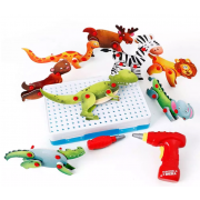 Конструктор-мозаика с шуруповертом Magic Plate puzzle Животные (Голубой)
