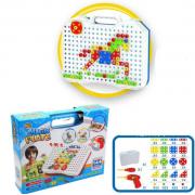 Конструктор-мозаика с шуруповертом Magic Plate puzzle Волшебная тарелка (Голубой)