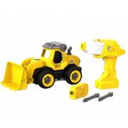 Набор пластмассовых деталей для сборки Бульдозера с пультом ДУ DIY Spatial Creativity (Желтый)