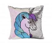 Подушка антистресс с двухсторонними пайетками Единорог (Розовый с голубым)