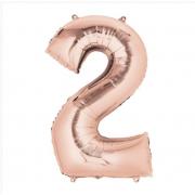 Фольгированный воздушный шар цифра 2 (Розовый)
