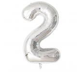 Фольгированный воздушный шар цифра 2 (Серебро)