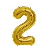 Фольгированный воздушный шар цифра 2 (Золото)