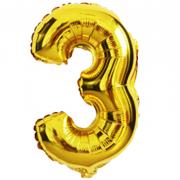Фольгированный воздушный шар цифра 3 (Золото)