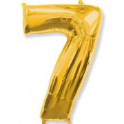 Фольгированный воздушный шар цифра 7 (Золото)