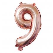 Фольгированный воздушный шар цифра 9 (Розовый)