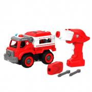 Набор пластмассовых деталей для сборки Пожарного грузовика с пультом ДУ Shantou Bhx Toys (Красный)